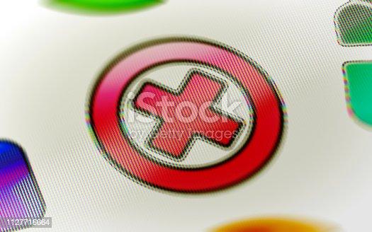 1076263344istockphoto Error icon on the screen. 1127716664