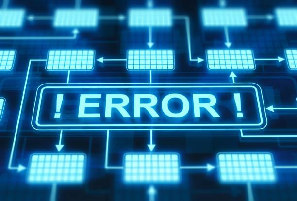 fehlermeldung auf dem digitalen display - fehlermeldung stock-fotos und bilder