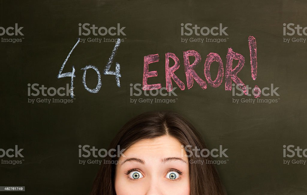 404 Error on a blackboard with girl stock photo