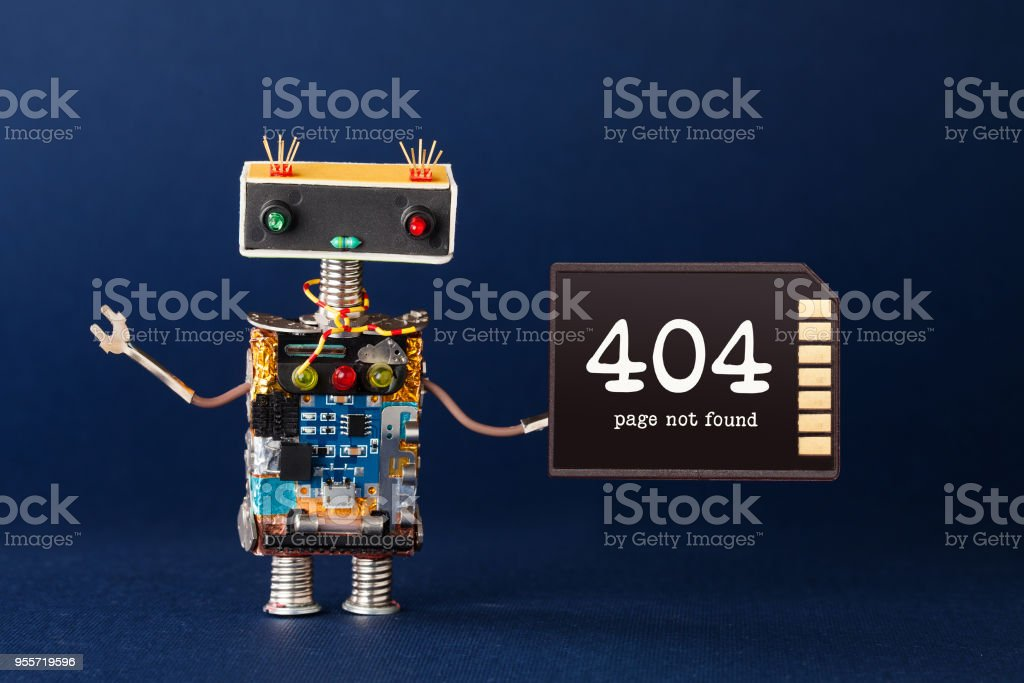 404 error page not found concept. Creative design robot with warning text message on memory card. Blue background stock photo