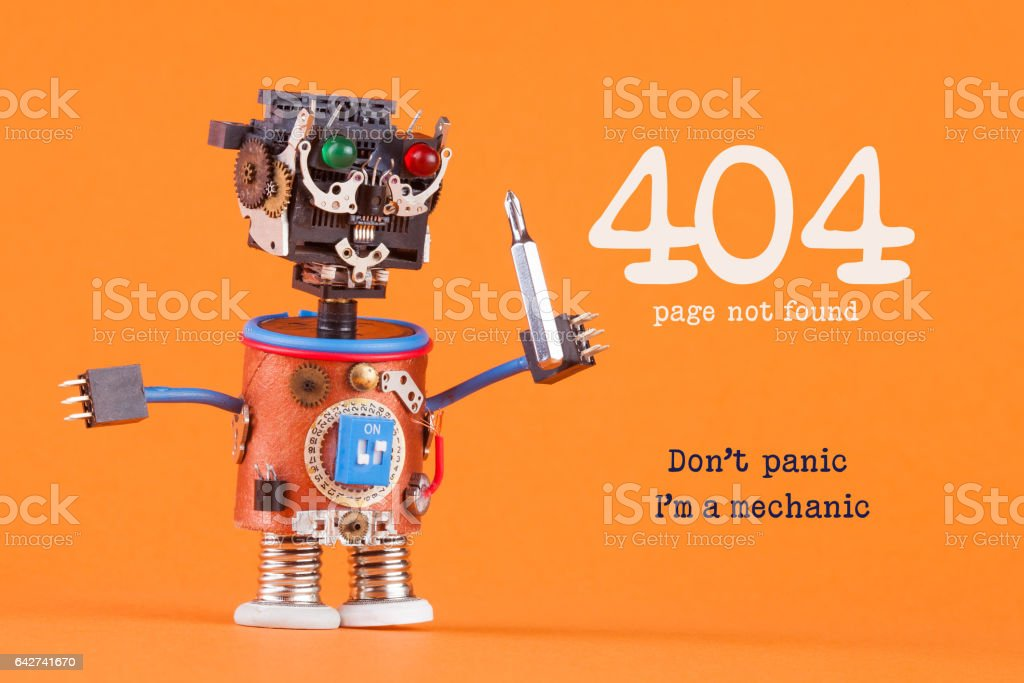 404 error page not found concept. Don't panic I'm a mechanic. Robotic handyman with screw driver. macro view, orange background stock photo