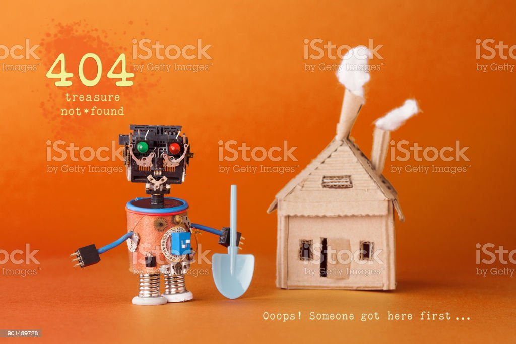 404 error page not found concept. Robot treasure hunter with a shovel near a cardboard toy house. Text Treasure not found. Ooops someone got here first. Orange background stock photo