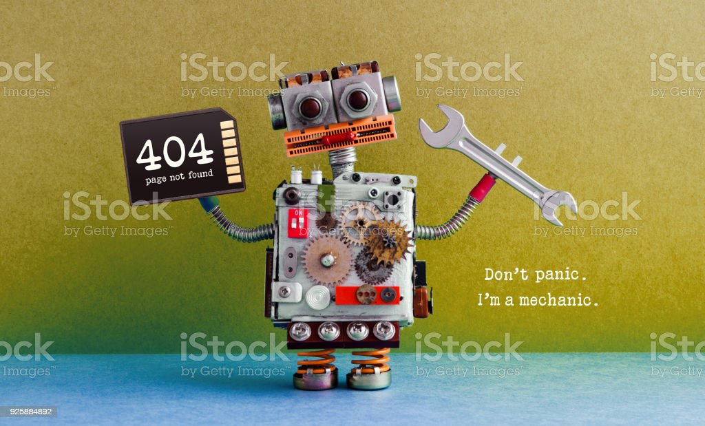 404 error page not found. Creative design robot, hand wrench memory card. Green blue background. Fixing maintenance concept. Text message Don't panic I'm mechanic stock photo