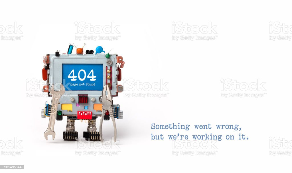 404 error page not found. Handyman robot with hand wrench pliers on white background. Text message Something went wrong but we are working on it. Copy space stock photo