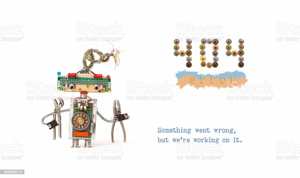 404 error page not found. Handyman robot with pliers on white background. Text message Something went wrong but we are working on it stock photo