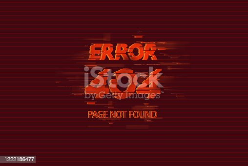 istock 404 error page not found on red background, glitch effect 1222186477