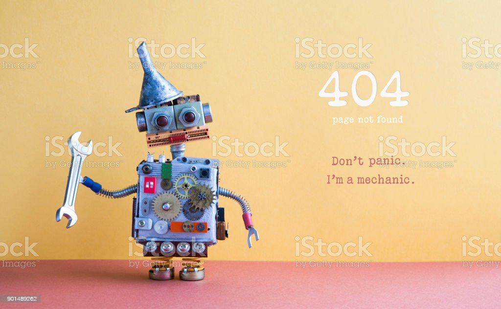 404 error page not found. Robot handyman pliers adjustable spanner on yellow red background. Fixing maintenance concept. Text message Don't panic I'm mechanic stock photo