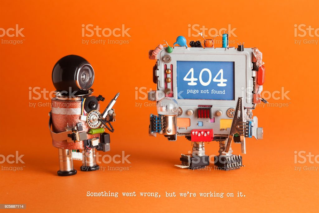 404 error page not found. Serviceman robot with screw driver, robotic computer warning message on blue screen. Orange background. Text Something went wrong but we are working on it stock photo