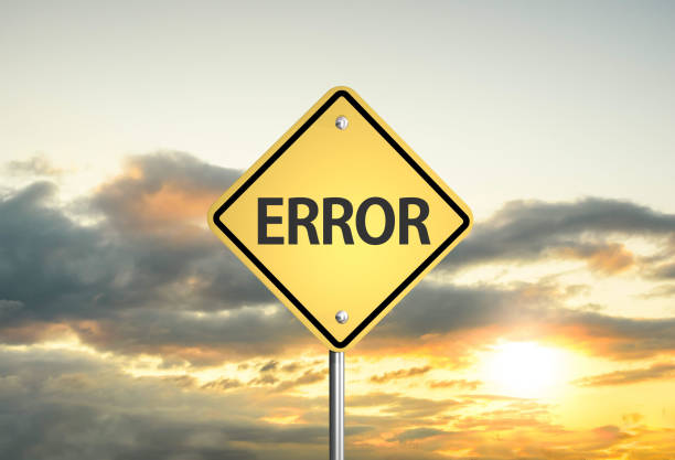 error road sign error on the sunset sky. 3D illustration error message stock pictures, royalty-free photos & images