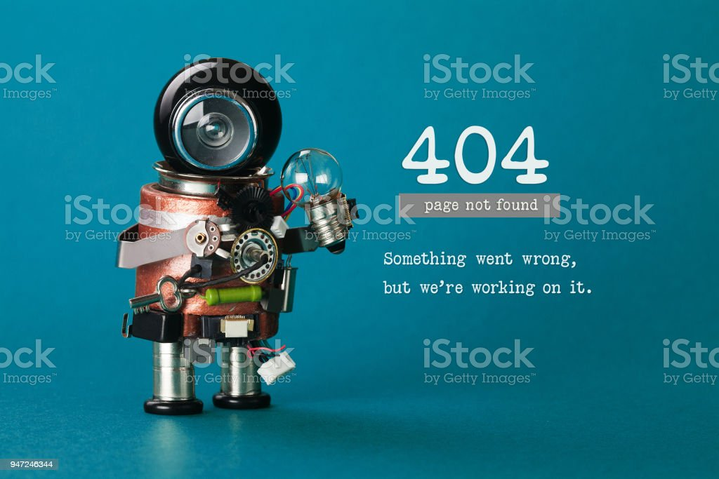 404 error web page not found. Futuristic robotic toy mechanism, black helmet head, light bulb in hand. Blue background. Text something went wrong but we are working on it stock photo
