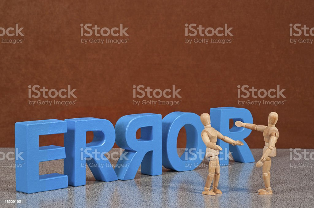 Error - Wooden Mannequin demonstrating this word stock photo