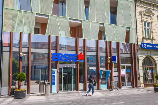 Erste bank in Vukovar stock photo