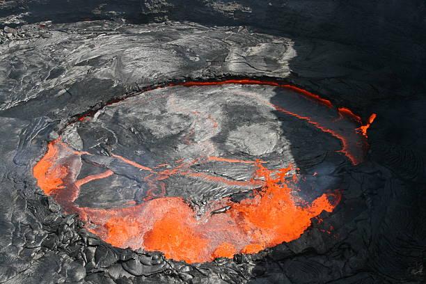 Erta Ale lava lake in Ethiopia stock photo