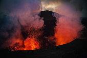 Erupting Mount Yasur Volcano Tanna Island Vanuatu Lava Crater