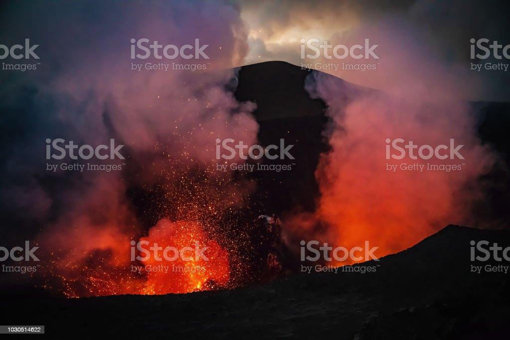 Erupting Mount Yasur Volcano Tanna Island Vanuatu Lava Crater stock photo
