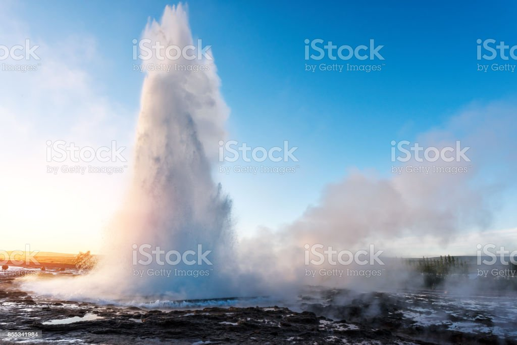 Erupting of Geysir geyser stock photo