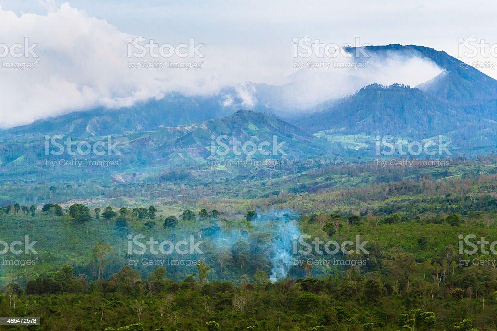 Erupting Volcano in Java stock photo