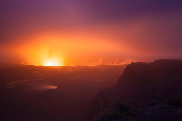Erupting volcano stock photo