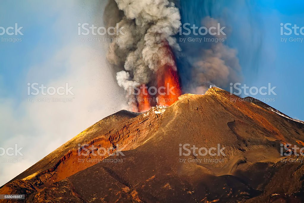 Eruption Etna stock photo