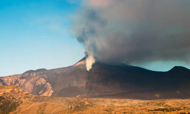 XII Eruption Etna volcano stock photo
