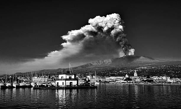 Eruption from the port stock photo