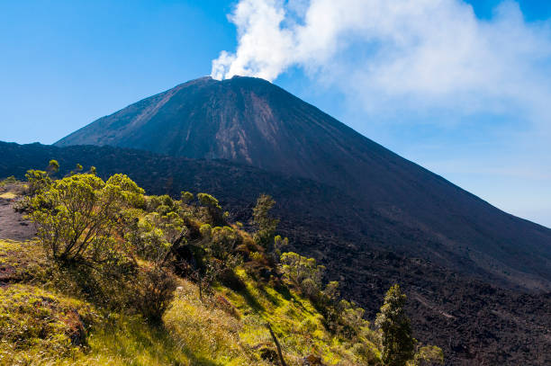 eruption in volcano pacaya in guatemala, central america. 2552 meters. cordillera sierra madre, central america. - wulkan czynny zdjęcia i obrazy z banku zdjęć