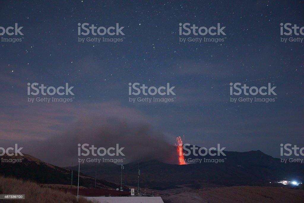 Eruption of Aso volcano stock photo
