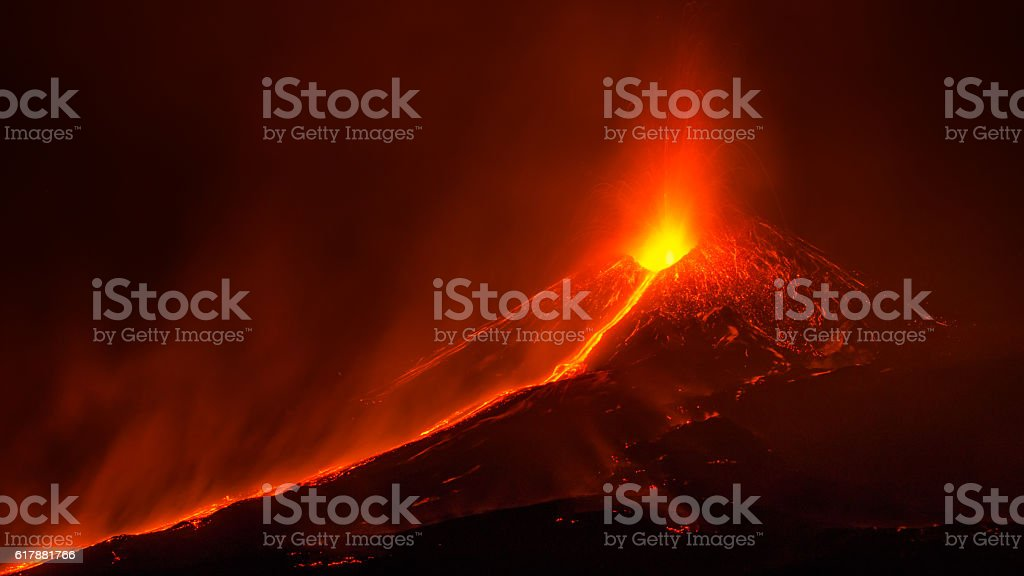 Eruption of Etna stock photo