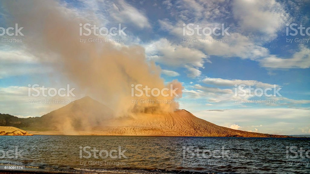 Eruption of Tavurvur volcano, Rabaul, New Britain island, PNG stock photo