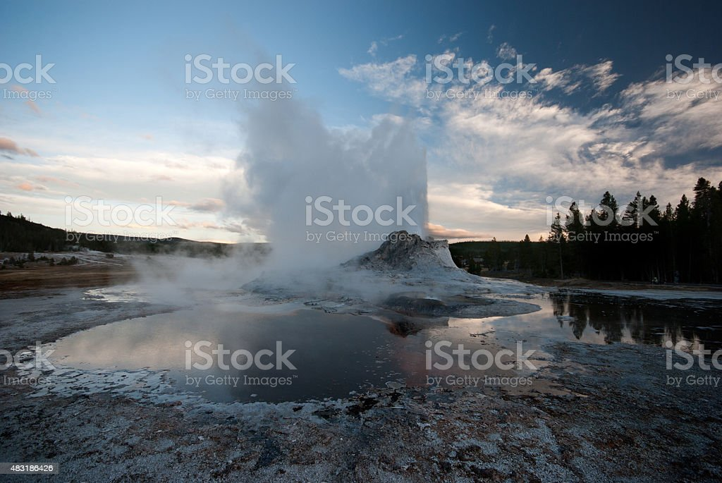 Eruption of the Castle Geyser at Yellowstone National Park stock photo