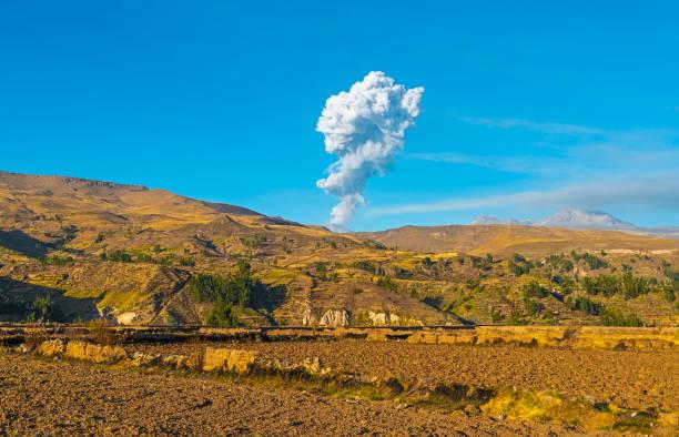Eruption of the Sabancaya Volcano, Peru stock photo