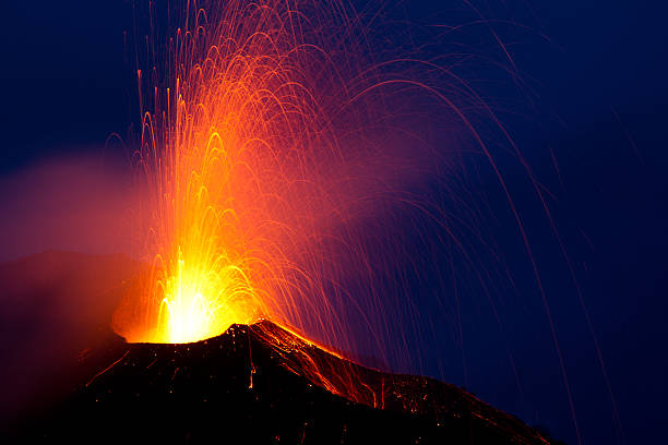 eruption of the volcano stromboli stock photo