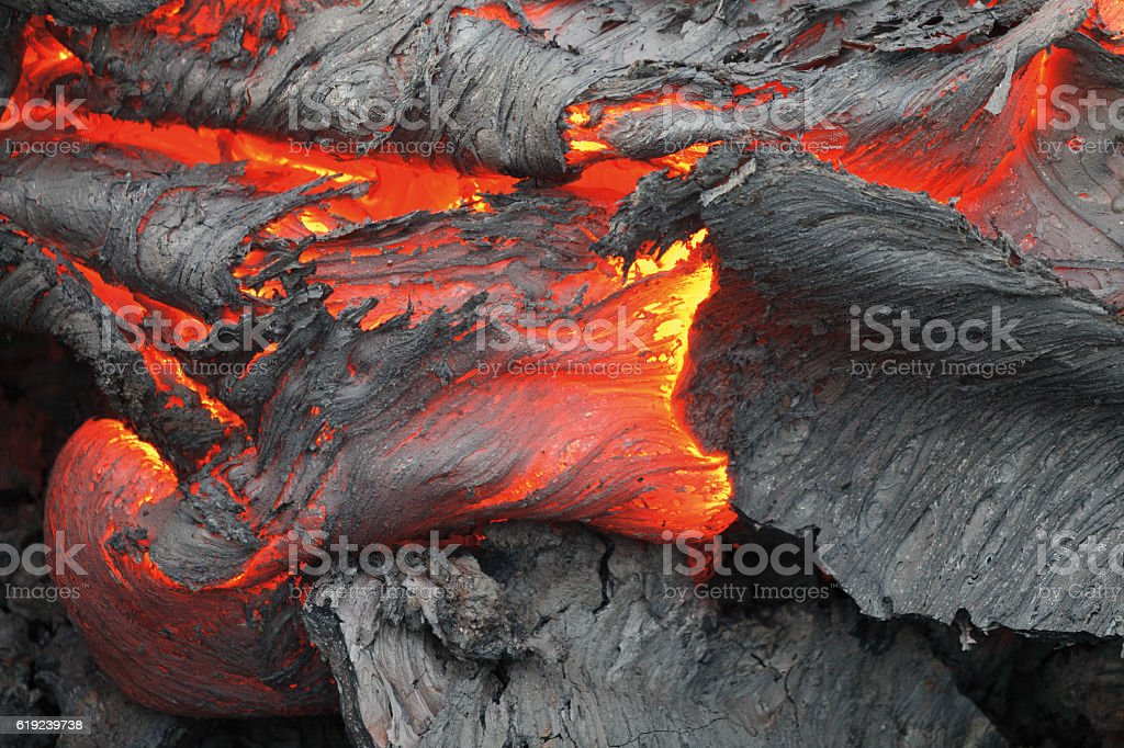 Eruption volcano Tolbachik stock photo