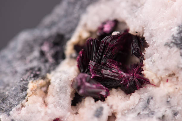 Erythrite mineral crystals Erythrite mineral crystals from Bou Azzer, Morocco cobalt sulfate stock pictures, royalty-free photos & images