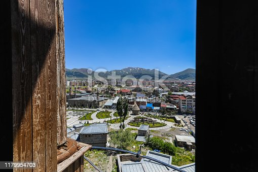 At Erzurum old city, Turkey - June 12, 2019: Erzurum Great Mosque (mosque) from the park of Erzurum view in Erzurum, Turkey
