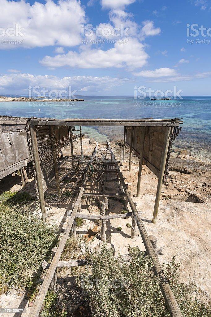 Es Pujols port in Formentera island boat railways royalty-free stock photo