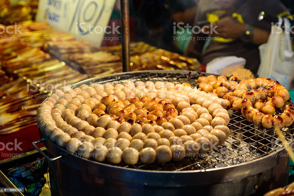 E-Saan Sausage, the native food of Thailand stock photo