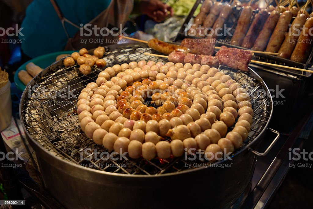 E-Saan Sausage, the native food sold on Warorot market. stock photo