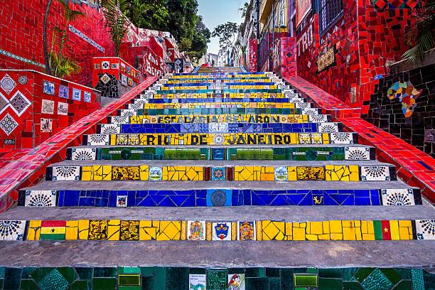 jorge escadaria selarón, rio de janeiro, brasil - rio de janeiro imagens e fotografias de stock