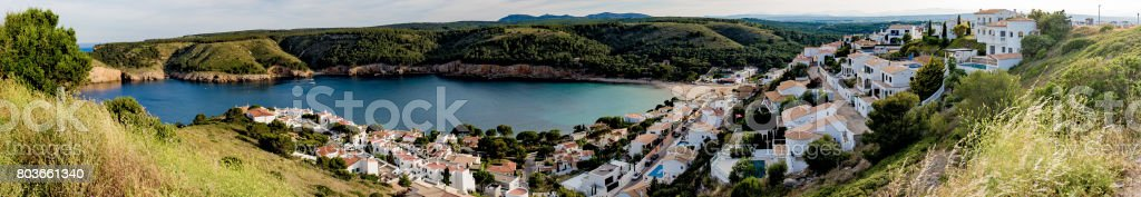 L'Escala and bay panoram view from top of hill stock photo