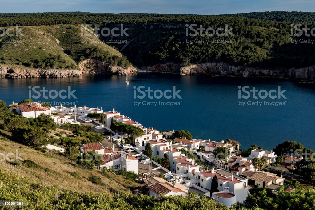 L'Escala bay view from top of hill stock photo