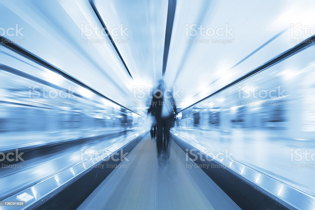 escalator and passenger royalty-free stock photo
