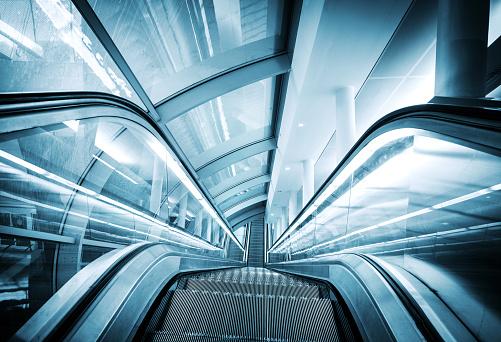 escalator at the modern subway station