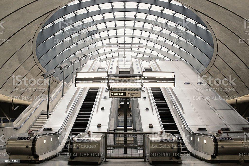 Escalator in Canary Wharf subway stock photo