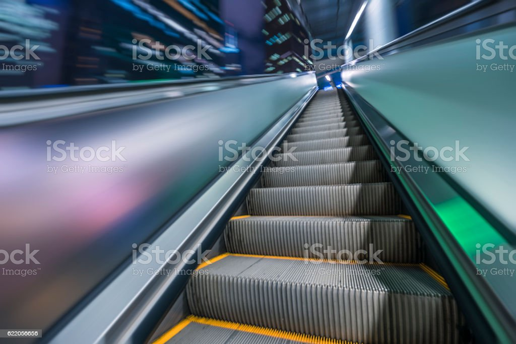 escalator in Hong Kong downtown district stock photo