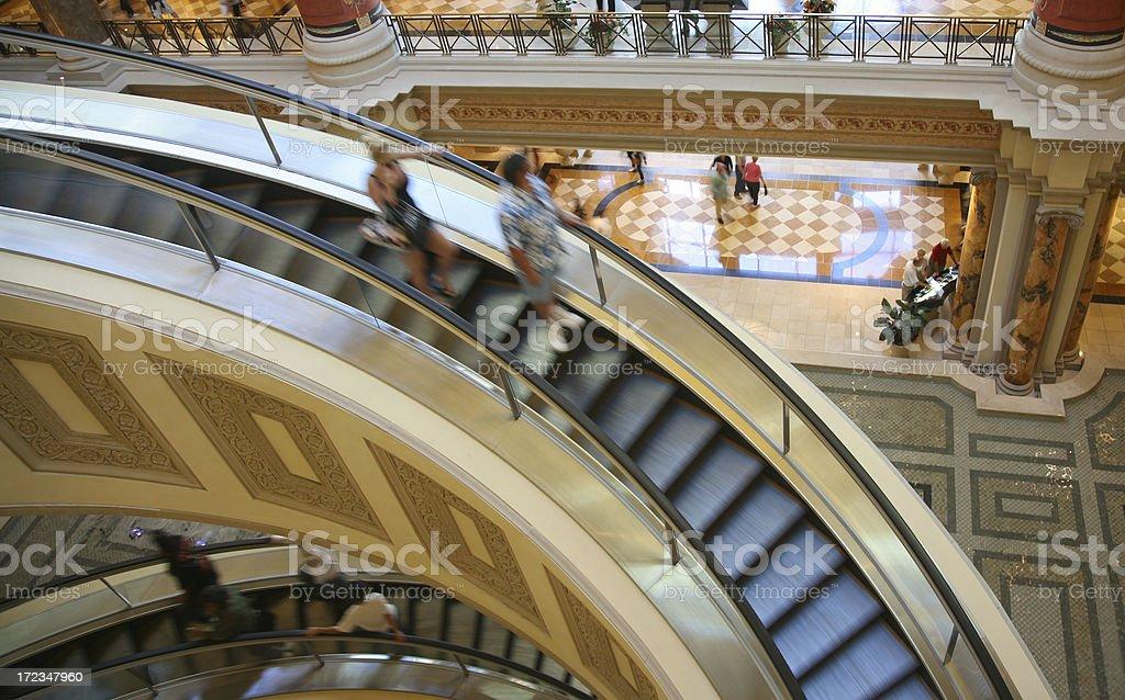 Escalator In Indoor Shopping Mall stock photo