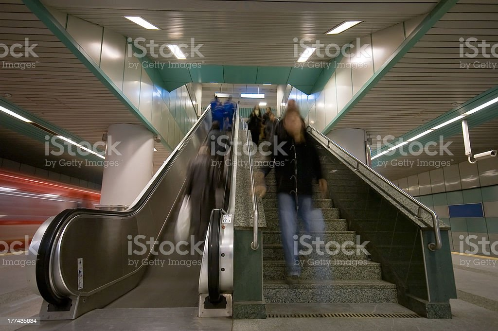escalator in the subway royalty-free stock photo