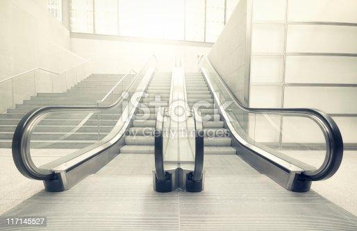 Escalator in a station.