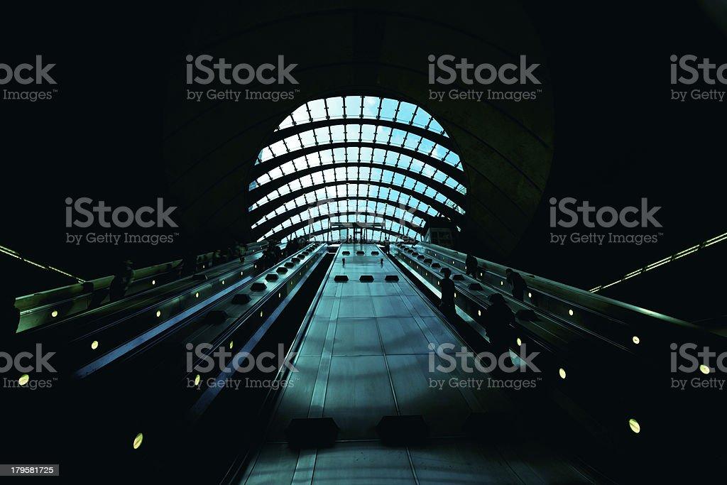 Escalator, London - England. stock photo