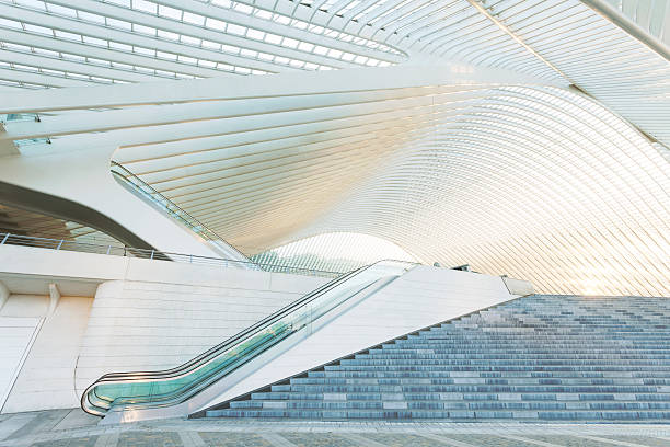 Escalator Outside Modern Architecture escalator outside futuristic railroad station in Liege, Guillemins, Belgium lulik stock pictures, royalty-free photos & images